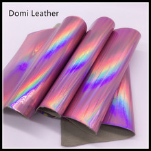 (DM6042) Soft Handfeeling Hologram TPU Faux Leather Fabric For Garments Sewing Material