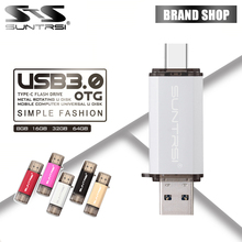 Suntrsi USB 3.0 Type-C 3.1 Pendrive 64GB Metal USB Flash Drive 64GB Custom Pen Drive USB Stick for Phones Micro USB Flash Type C