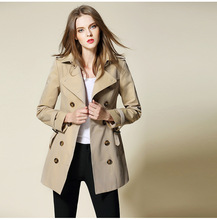 China the best quality Women's cotton trench coat with D-ring belt double-breaste Overcoat buffalo horn logo buttons female coat(China)