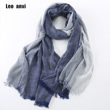 Brand Winter Men's Scarf Fashion Plaid Striped Tassel Shawls and Wrap Bufandas Cachecol Cotton Linen Wrinkled Scarves for Men(China)