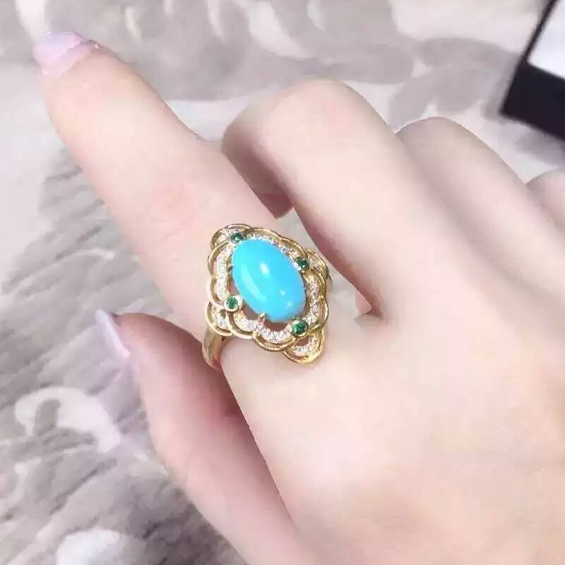 The stone of success Natural turquoise Ring 925 sterling silver Natural 6*9mm blue gemstone ring diamond fine Jewelry for women(China (Mainland))