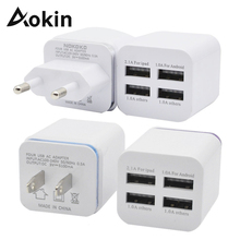 Aokin EU US Plug Phone Charger AC Power Adapter 5100mA 4-port Home Travel Wall USB Tablet for Samsung HTC for iPhone 5 6 7 plus(China)