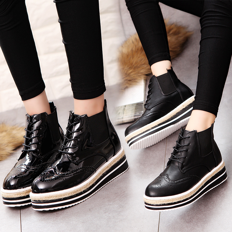 Casual vintage brockden womens lacing shoes british style carved high-top shoes plus cotton wedges single shoes  Short boots<br><br>Aliexpress