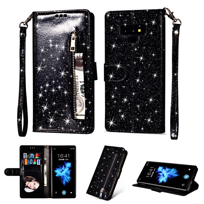 Zipper Wallet Leather Case For Samsung S8 S9 Plus Note 9 8 Soft Bling Glitter Cover For Galaxy S6 S7 Edge J4 J6 A5 A6 Flip Cases