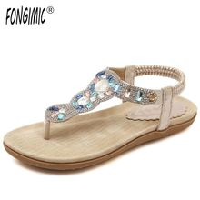 FONGIMIC summer sandals flip flops with diamond all match sweet style big size beach shoes wear comfortable cool casual sandals