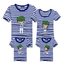 Ming Di Boys Girls Clothing Brand Summer T shirts Fashion Family Matching Outfits Blue Striped Children's Clothing Father Mother(China)