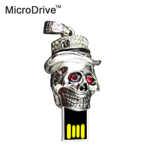 Skull head Metal USB Flash Drive USB2.0 Pen Drive 4GB 8GB 16GB 32GB 64GB U Disk ornament Memory Storage