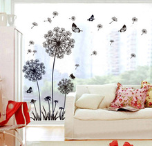DIY flying dandelion flower butterfly Wall Stickers Living Room Bedroom Wall Art Home decor decals Backdrop mural(China)