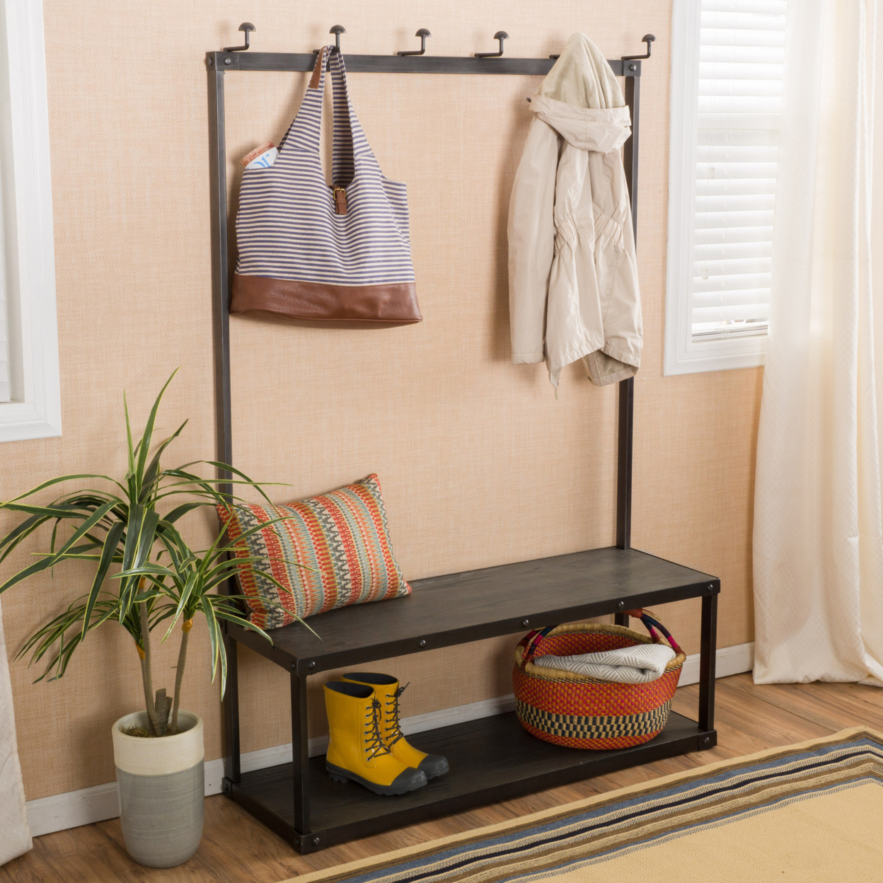 Elaine Grey Entry Bench with Coat Rack