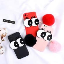 3D Cartoon Big Eyes Cute Hair Ball Phone Case For VIVO V5plus Y55 V3 V3max  V5 Y67 Y66 V5S Y53 Y69 V7plus Y79 Y71 934dbee3c2c0