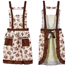 Korean Princess Aprons Double Widening Strap Rose Waterproof Aprons coffe