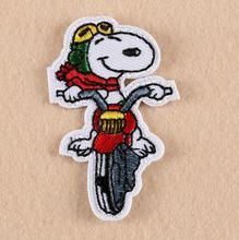 lovely  Dog Motorcycle Cartoon iron on patches animal Applique for kids children cloth jacket handwork accessory 10pcs/lot