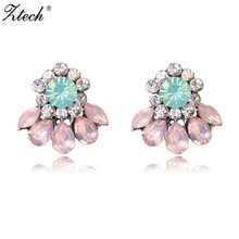 Ztech 2017 Statement Stud Earrings For Women Girl Party Chic Trendy Earring pink Colors Wholesale Price brincos