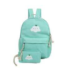 2 PCS/Set Women Backpacks Cloud Printing Book Bags Preppy Style School Bags for Teenage Girls Composite Backpack Sets(China)