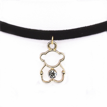 Torques Collar Necklace Women Black Choker Necklace Velvet Leather Maxi Statement Bear Pendant Necklace For Women 2017 Jewelry(China)