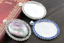 2pcs 30x40mm Inner Size Bright Silver plated Transparent and Blue Rhinestone Style Cameo Cabochon Base Setting Pendant(China)