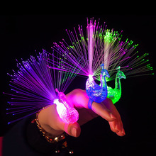 1PCS Novelty Charm LED Luminous Peacock Finger Rings Lights Toy Flash light For Kids Children's day/Birthday Party Gift toys(China)