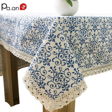 Classic Linen Cotton Table Cloth Blue Flower Printed Table Cover Dust Proof Rectangular Tablecloth Wedding Party Home Decoration(China)