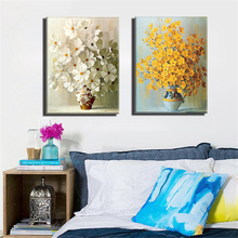 Frameless Canvas Art Oil Painting Home Decoration Abstract Colorful Flower Print  Modular Picture for Living Room Wall 2 Panel