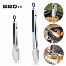 New 2pcs 12inch and 9inch Stainless steel BBQ Tongs Locking Kitchen Tongs Silicone Cooking Salad Serving Food Tongs BBQ Tool set(China)