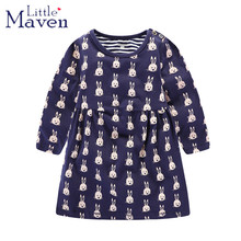 Little maven children brand 2017 autumn girls pure cotton long sleeve O-neck cartoon bunny printing girls' dress dresses S0238