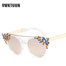 VWKTUUN Luxury Sunglasses Women Men Brand Designer Cat Eye Glasses Crystal Flower Sun glasses For Women UV400 Eyewear Goggles