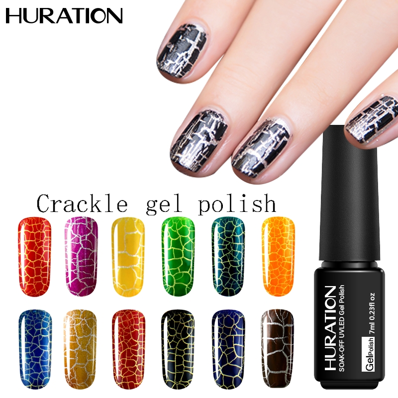 Huration Gel Nail Polish Crackle Style Nail Art UV Gel Polish Long Lasting Gold Silver White Base Color Manicure Collection(China (Mainland))