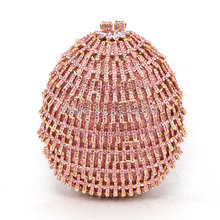 Women Champagne Luxury pink Crystal Soiree Pochette Clutch Circle Ball Shape Wedding Shoulder Lady Evening Bag (88632A)(China)