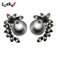 LEEKER Vintage Jewelry Solid Leaf Shape Imitation Gray Pearl Stud Earrings With Cubic Zircon For Women Party Wedding 91525 LK1(China)