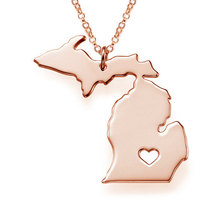 Buy Fashion Women Street Necklaces Michigan State pendant Necklace MI State Map Statement Necklaces Charm short Necklace jewelry for $1.49 in AliExpress store