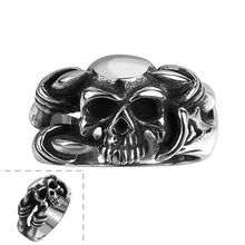 High Quality Antique Ring Stainless Steel Made for Men European/US Punk Style Skull Party Jewelry R109
