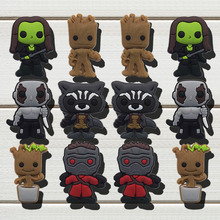 12 pcs/set Guardians Of The Galaxy Cartoon Shoe Charms PVC Figure Shoe Accessories Fit Bracelet Wristband for kid Promotion Gift