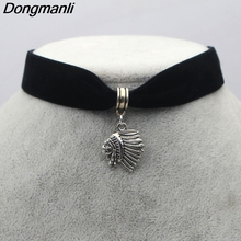M201 Dongmanli Native American Indian Chief Pendant Necklace Stainless Steel Silver Color Eagle Hawk Falcon Feather Necklace(China)