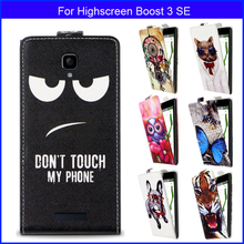 Factory price Fashion Patterns Cartoon Luxury Flip up and down PU Leather Case for Highscreen Boost 3 SE,Free gift