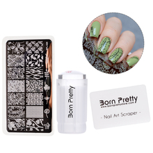 BORN PRETTY 3Pc Nail Stamping Tool Set 2.8cm Clear Jelly Silicone Stamper Flower Nail Stamping Plate with Scraper for Stamp Kit