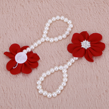 2pcs Baby Pearl Shoes DIY Lace Pearl Diamond Flowers Baby Shoes Infant Newborn Barefoot Ring  Shoes Chiffon Flower Pearl