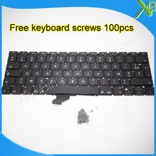 "Brand New AZERTY FR French keyboard+100pcs keyboard screws For MacBook Pro Retina 13.3"" A1502 2013-2015 Years(China)"