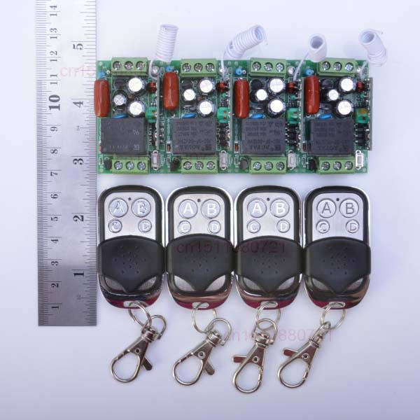 220V 1CH Wireless Power Switch System 4 Receiver&amp;4Transmitter Remote Controller 10A output state is adjusted<br>