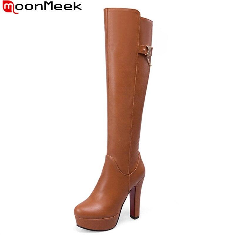MookMeek 2017 hot sale new arrive women boots fashion zipper platform ladies boots simple elegant autumn winter knee high boots<br>