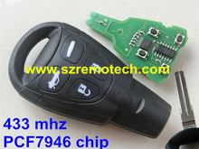 New Smart Remote Key 433Mhz PCF7946AT for SAAB 9-3 93 2003-2010 LTQSAAM433TX 4 Track blade