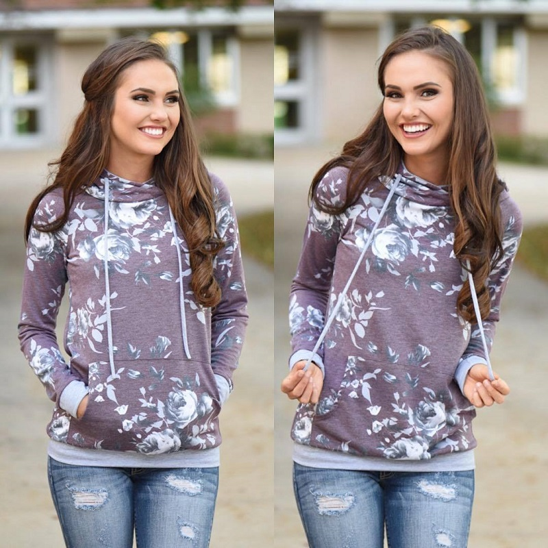 New Double Hood Sweatshirt, Women's Long Sleeve, Side Zipper Hooded Casual Pullover 47