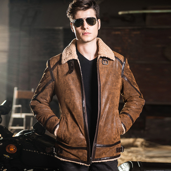 2016 Hommes de cuir véritable veste double face fur moto peau de porc Véritable veste En Cuir hommes en cuir manteau