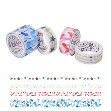 4pcs/pack DIY Multicolor Mood Fabric Tape Stickers Scrapbook Decor Masking Tape