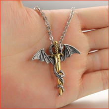 Dormineering Chinese Flying Dragon Sword Necklace Men, Plated Rose Gold Pendant Necklaces, Cool Long Neckless Men Jewelry(China)