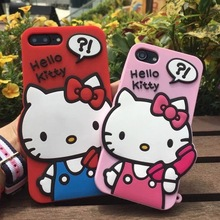 For iPhone 5 5s SE 6s 6Plus 7 7Plus Original Japan Fashion 3D Cartoon cat pink red Hello kitty Cute Lady soft rubber phone case