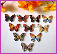 150pcs 2 Holes Mixed Butterfly Wooden Buttons Sewing Accessories and Scrapbook 18x25mm Scrapbooking botoes para artesanato(China)