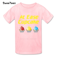 At Ease Cupcake T Shirt Kids Cotton Short Sleeve O Neck Tshirt Children Costume 2017 Best Selling T-shirt For Boys Girls(China)