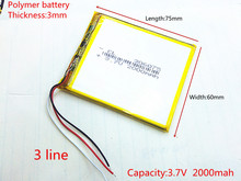 3.7V 2000mAh Lithium Polymer LiPo Rechargeable Battery cells power For PAD GPS PSP Vedio Game E-Book Tablet PC Power Bank 306075