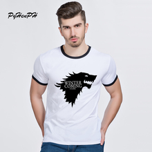 PyHenPH Game Of Thrones  T Shirts Men Wolf Print O-neck Ringer Hipster Tops Winter is coming  Men Summer Clothing