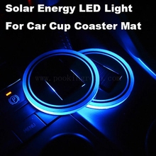 3 Colors Car  Styling Waterproof Solar LED Light Cup Holder Mat Built-in Vibration & Light Sensor